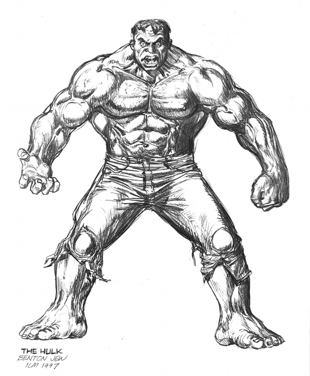 Benton Jew's full-figure rendering of The Hulk