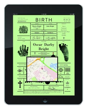 iPad birth certificate concept