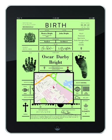 iPad birth certificate concept