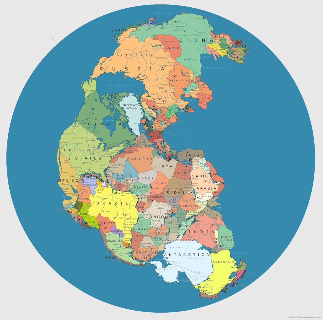 Pangea political map