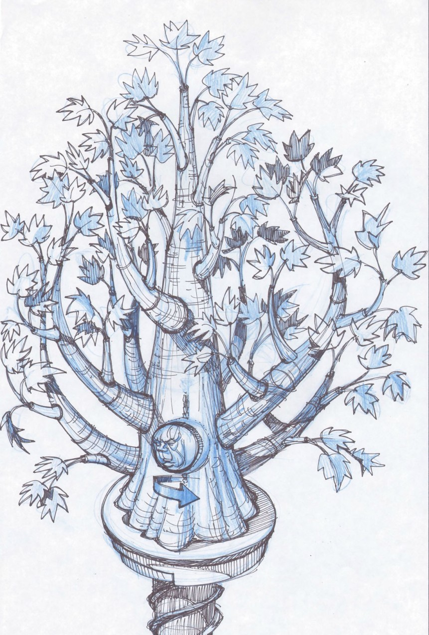 Winterfell Godswood tree sketch