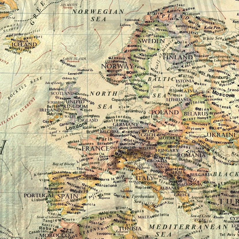 Climate change map: Europe