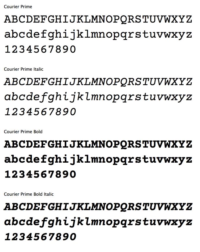 Courier Prime alphabets