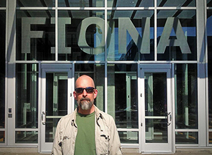 Neal Stephenson in front of Amazon's Fiona building