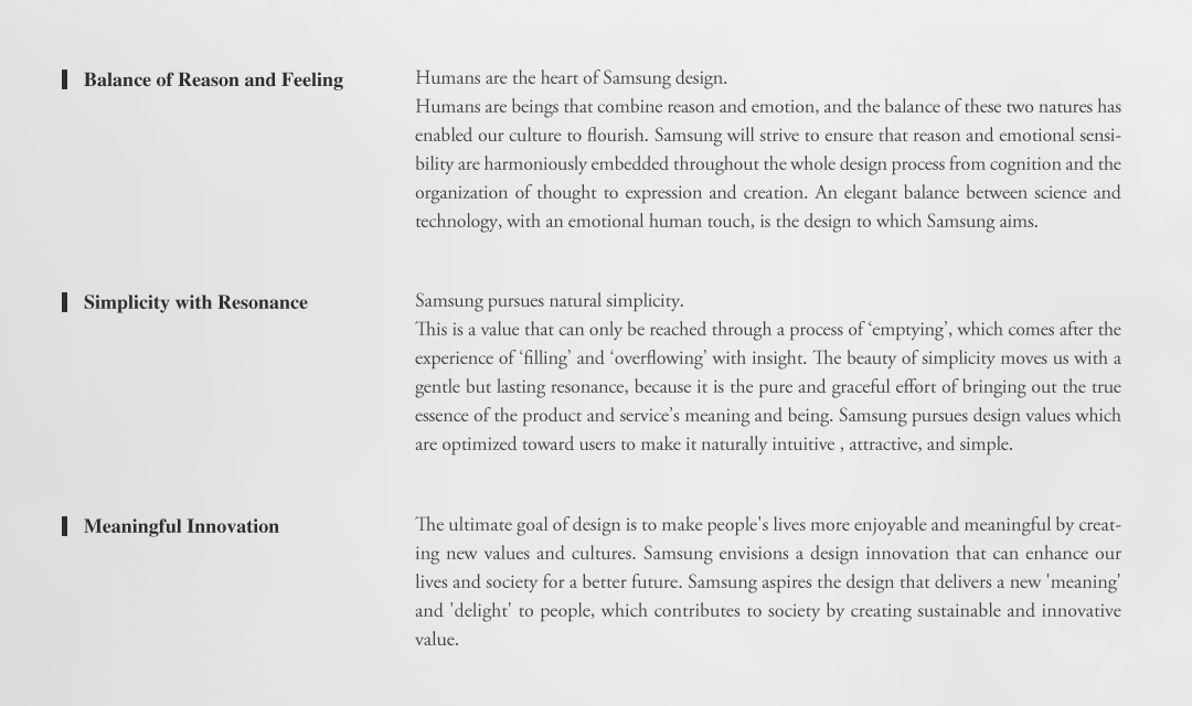 Samsung's design philosophy