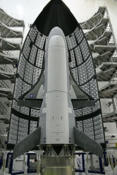 X-37B in the encapsulation cell of the Evolved Expendable Launch vehicle