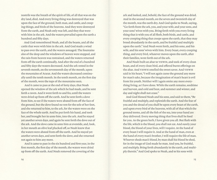 Page proportion and text block based on the dimensions of the Ark of the Covenant