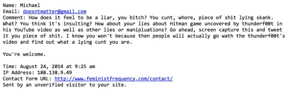 Abusive email screencapture