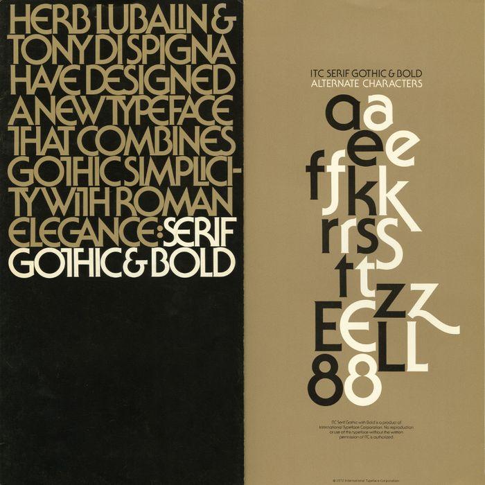 Original cover to ITC Serif Gothic's type specimen