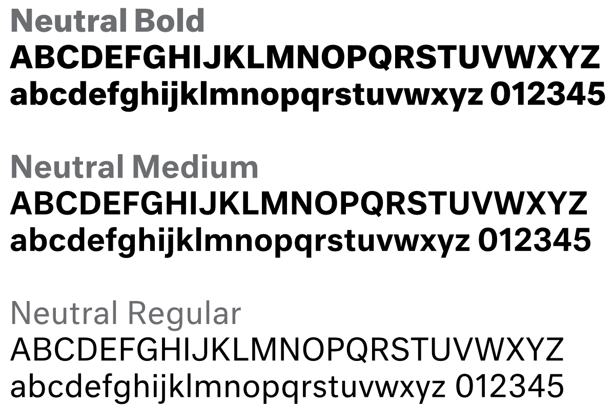 Neutral typeface family
