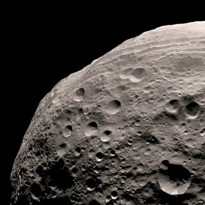 Closer view of asteroid Vesta's cratered surface