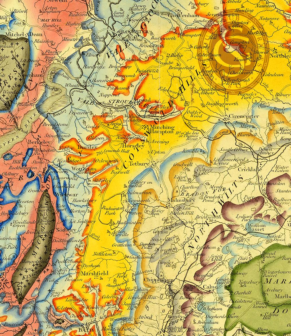 A detail from the Geological Society's recently rediscovered map by William Smith