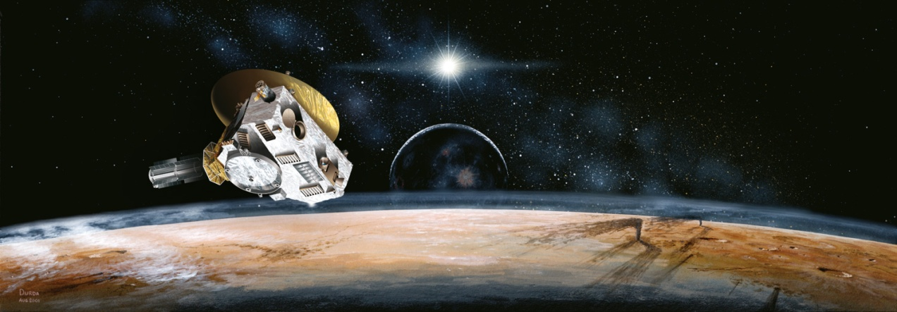 Artist rendering of New Horizon over Pluto