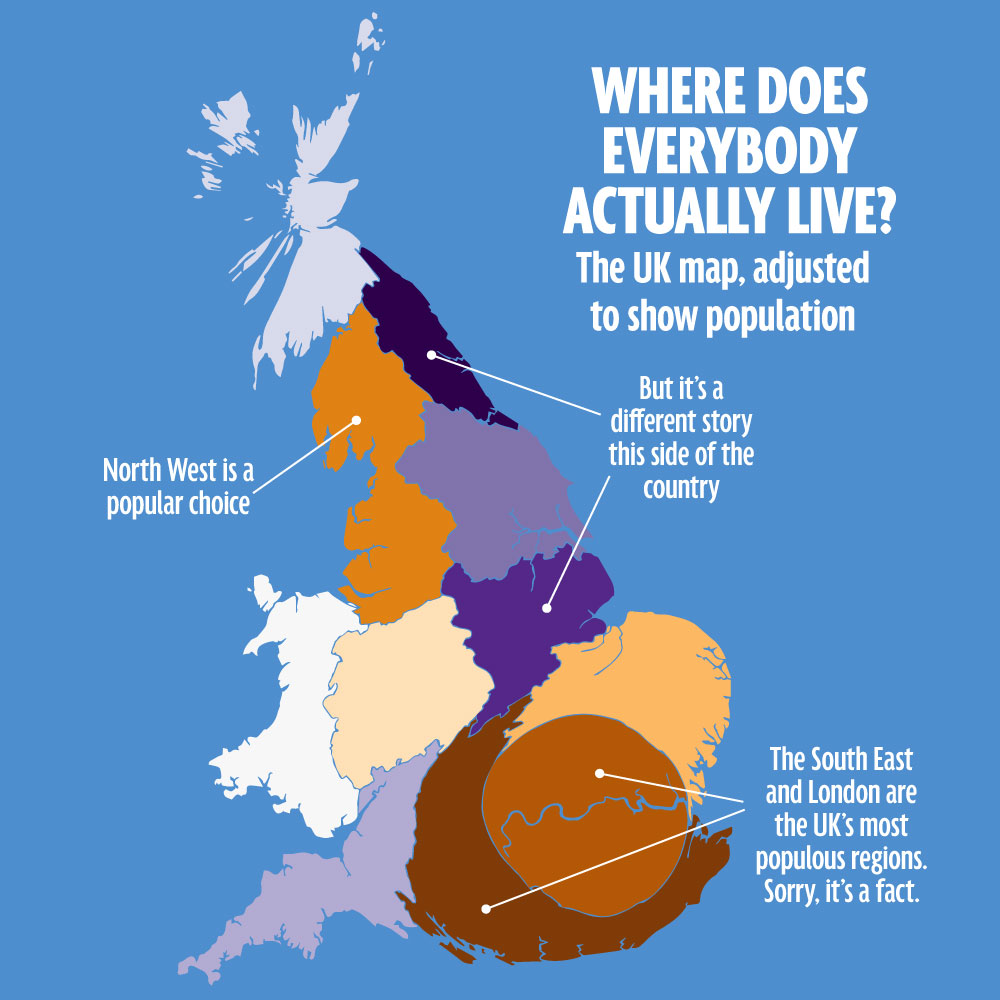Where do all the people in the UK live?