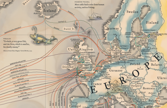 Submarine cable map detail
