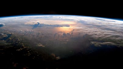 Sunset on the Pacific as seen from the International Space Station