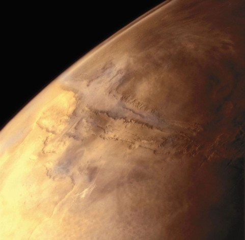 The largest canyon in the Solar System, Valles Marineris is almost 2,500 miles long