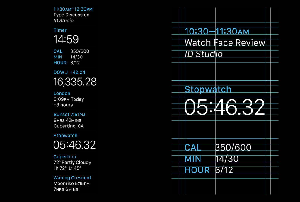 The new San Francisco typeface designed for the Watch's tiny screen
