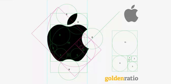 Apple logo deconstructed with the Golden Ratio