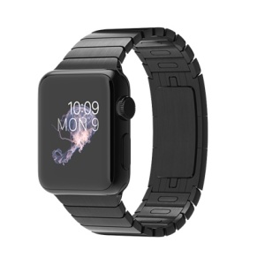 Apple Watch with stainless steel link bracelet, in all space black