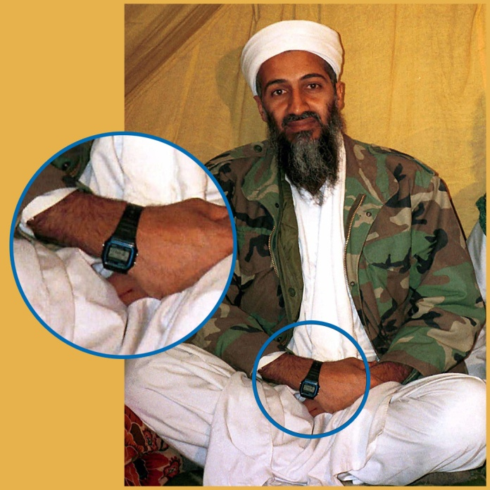 Osama bin Laden wearing a Casio F-91W