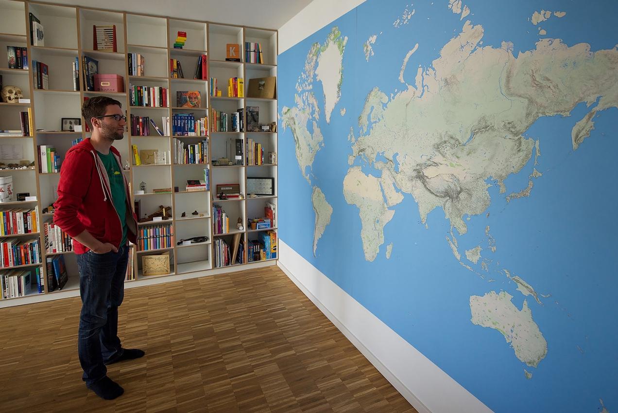 Wall-sized world map