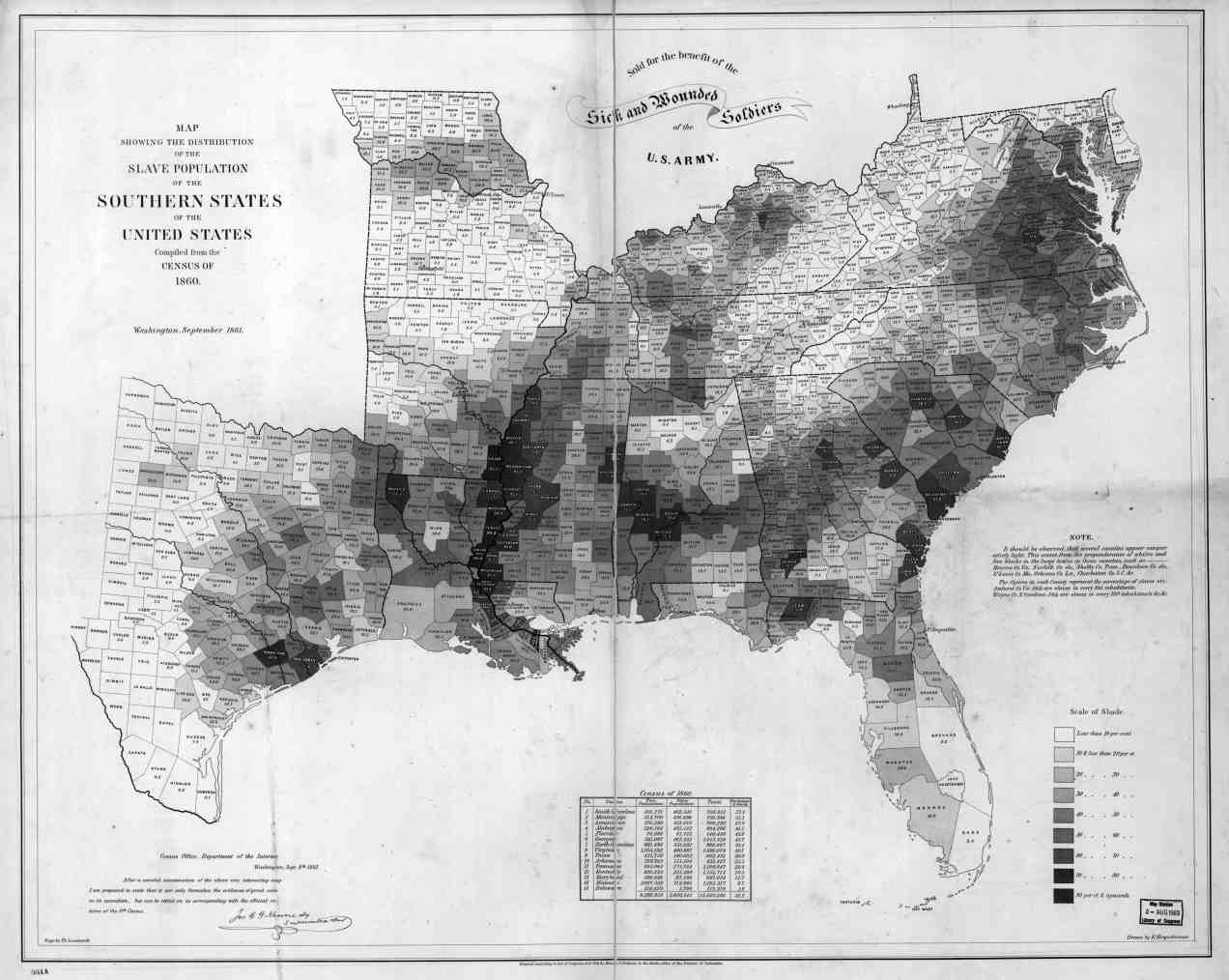 Percentage of Slaves by U.S. County, 1860