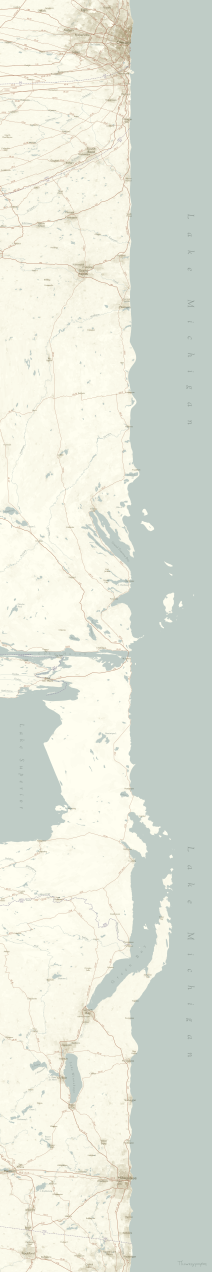 A linear map of Lake Michigan