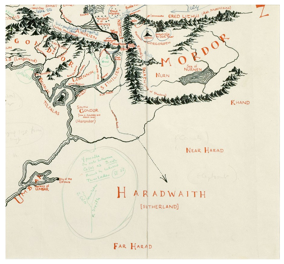 Tolkien's annotated map of Middle-earth - bottom right