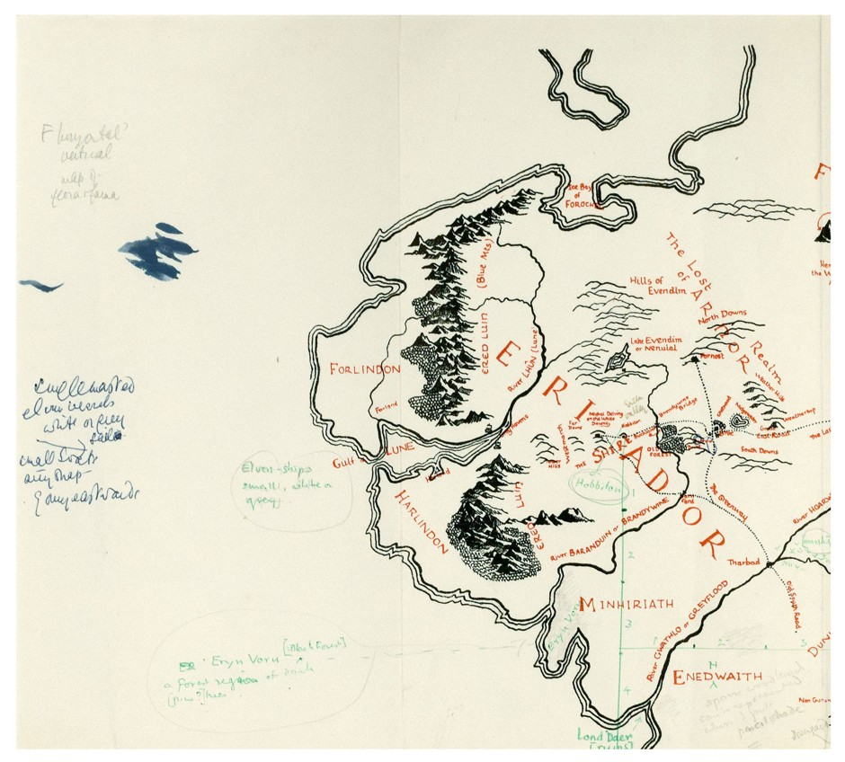 Tolkien's annotated map of Middle-earth - top left