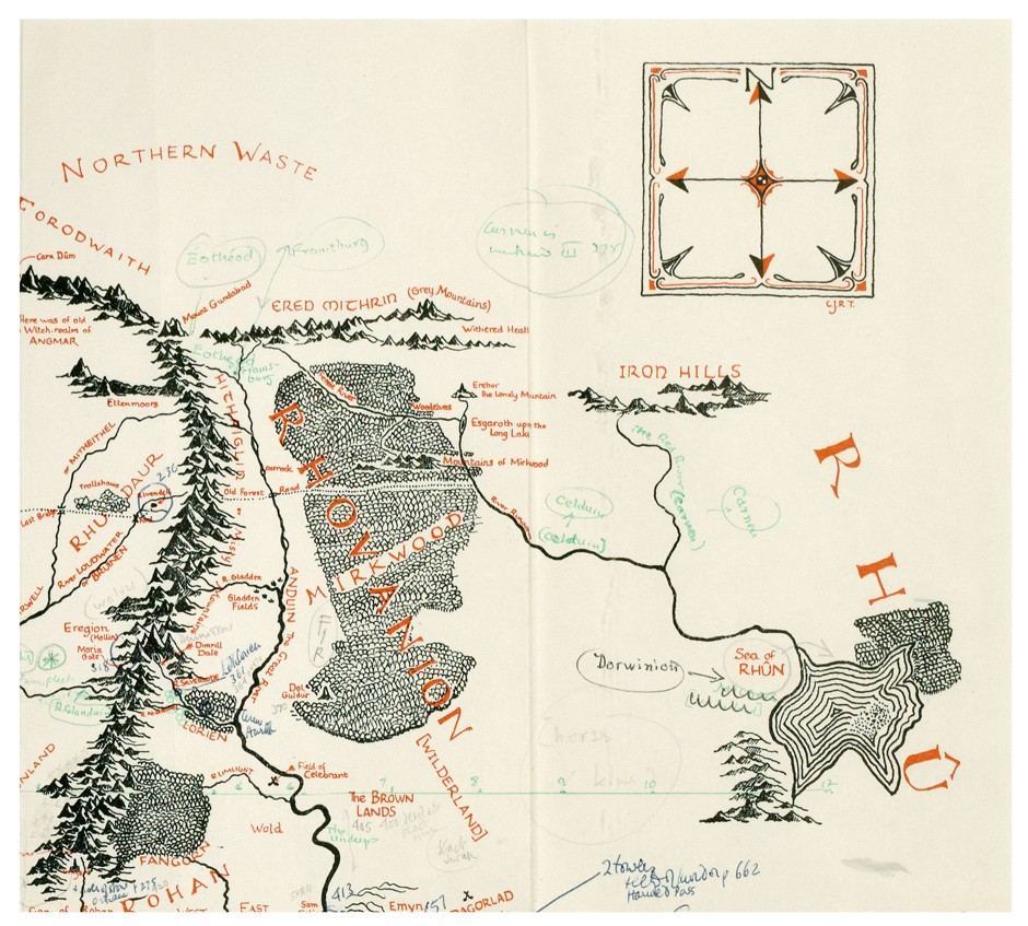 Tolkien's annotated map of Middle-earth - top right