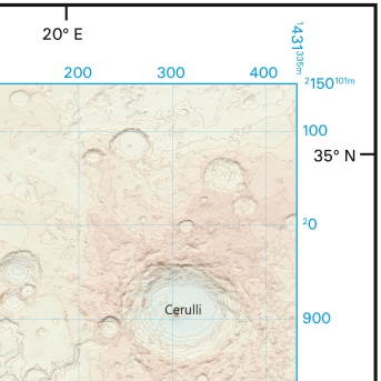 Ordnance Survey map of Mars - corner detail