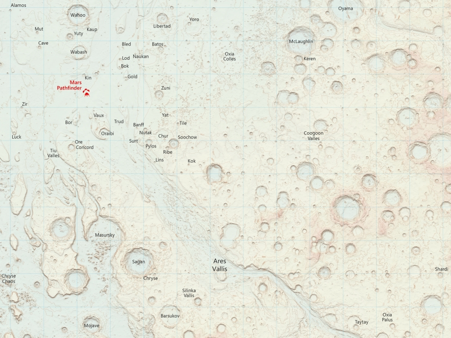 Ordnance Survey map of Mars - detail