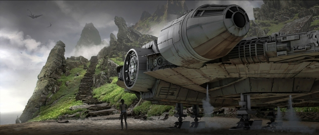 The Millennium Falcon on Luke's hideaway planet