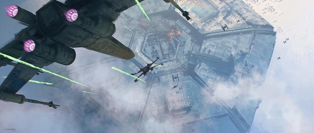 X-Wing attack run at Starkiller Base