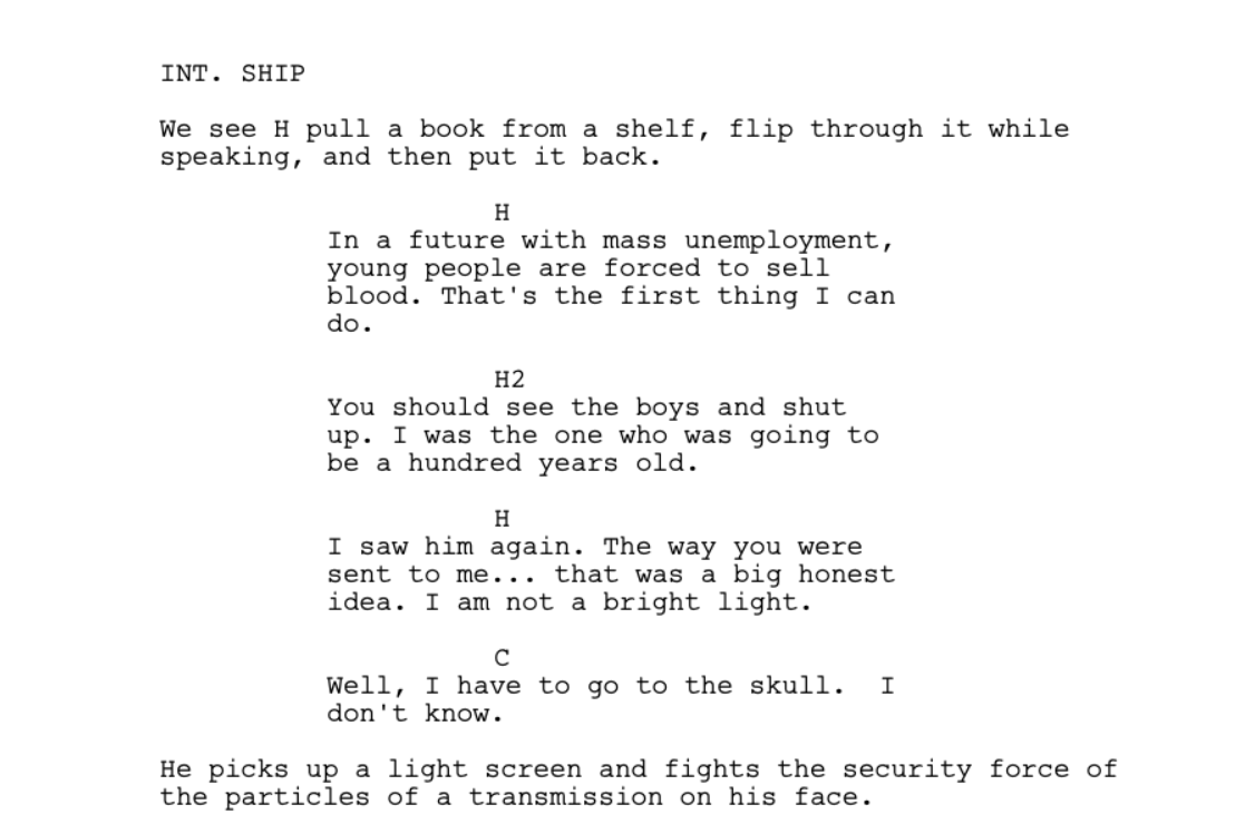 Sunspring screenplay sample