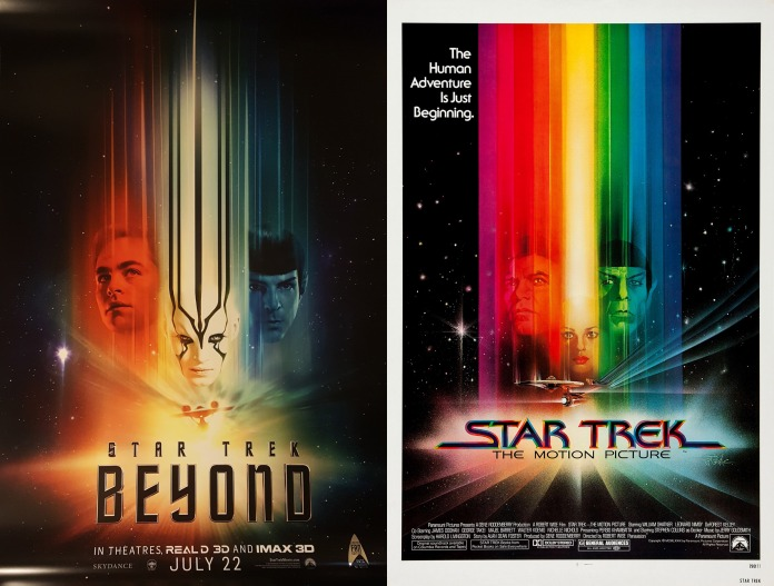 Posters for Star Trek Beyond and the first Motion Picture