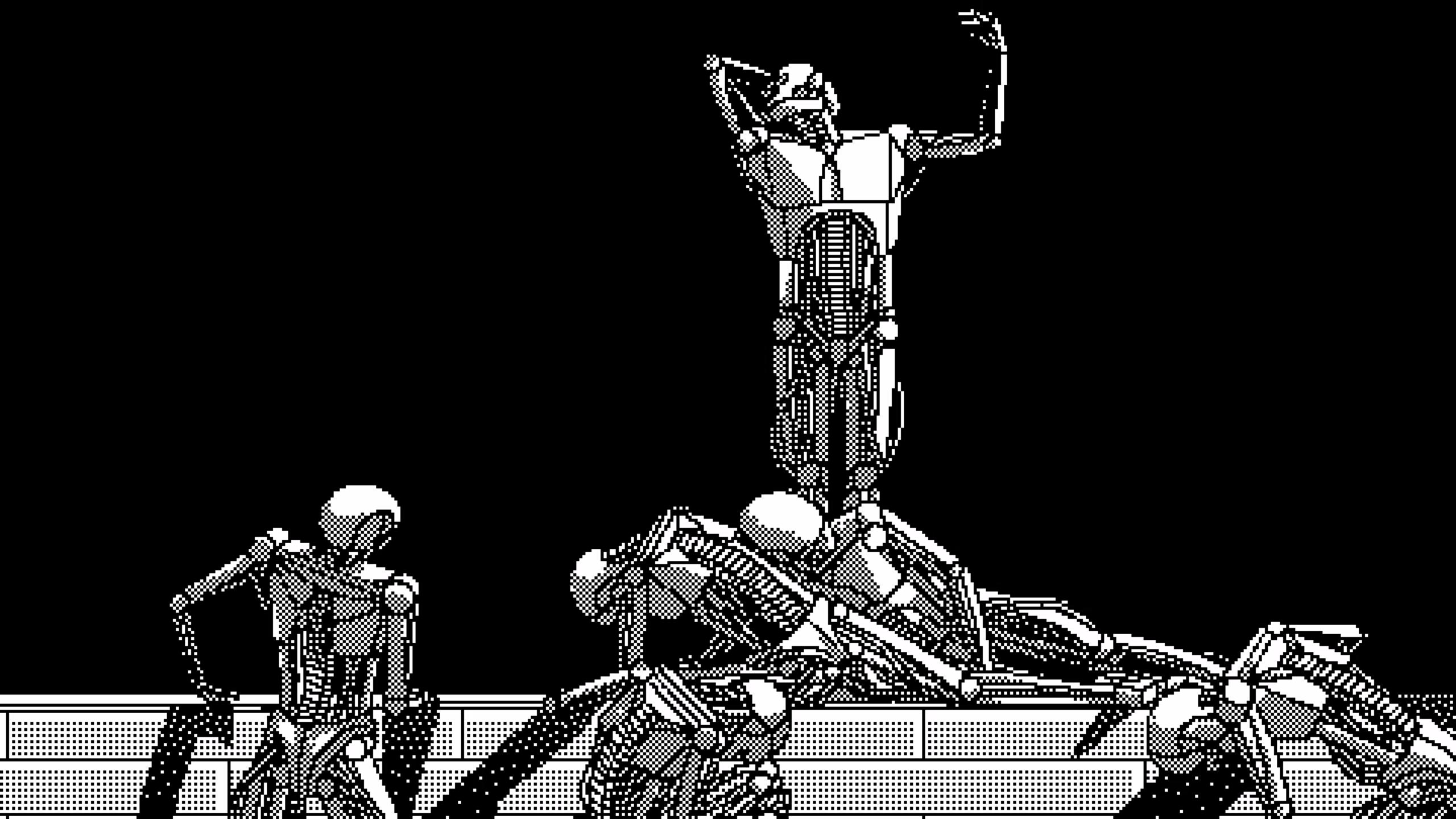 inside  surreal psychological cyberpunk nightmares as pixel art