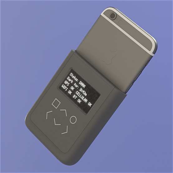 "Conceptual rendering of a ""battery case"" style introspection engine, piggybacked on an iPhone6."