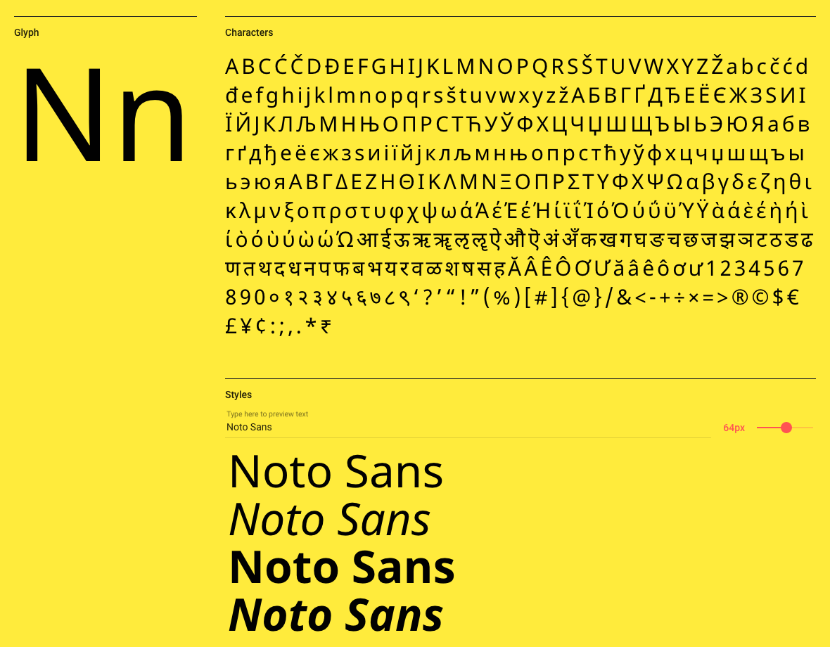 Noto Sans on Google Fonts