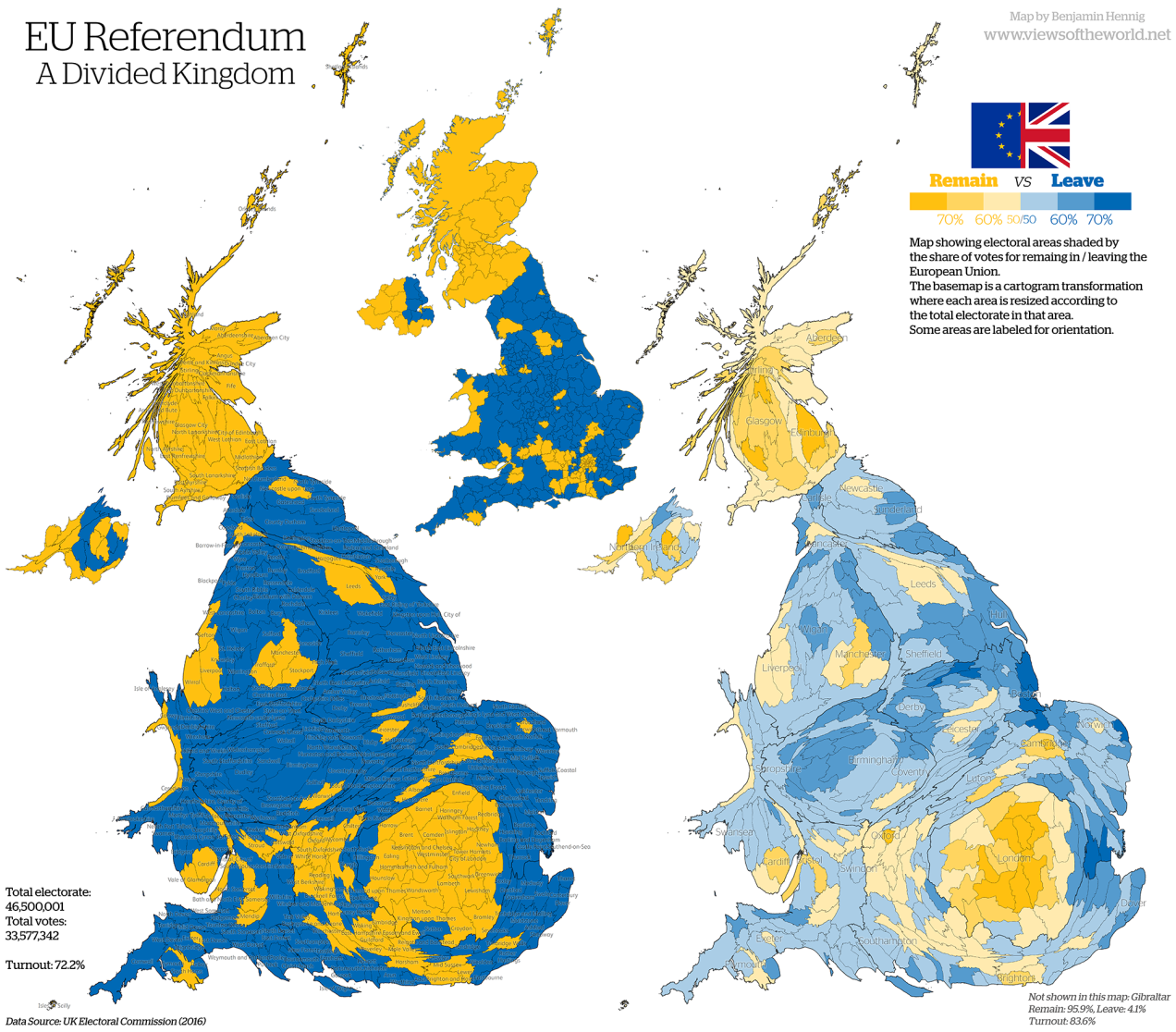 EU referendum results cartogram