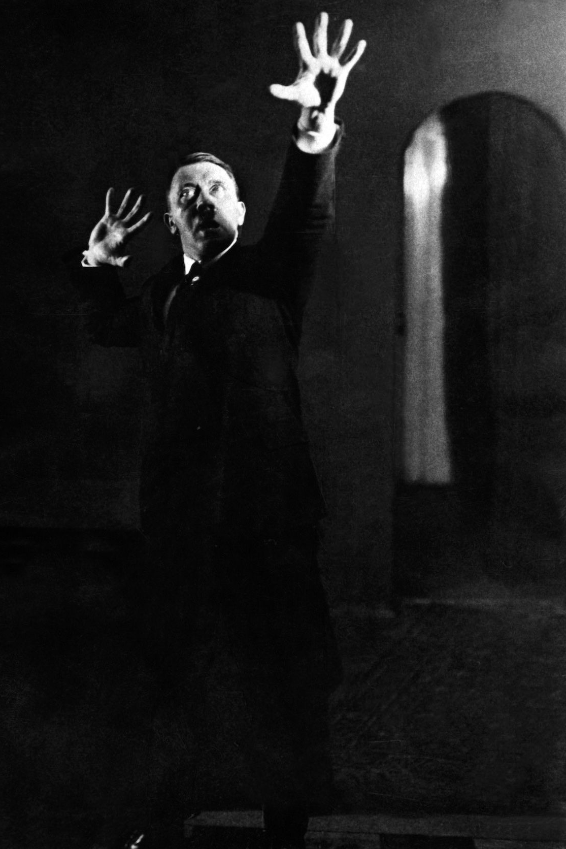 Heinrich Hoffmann photograph of Hitler rehearsing
