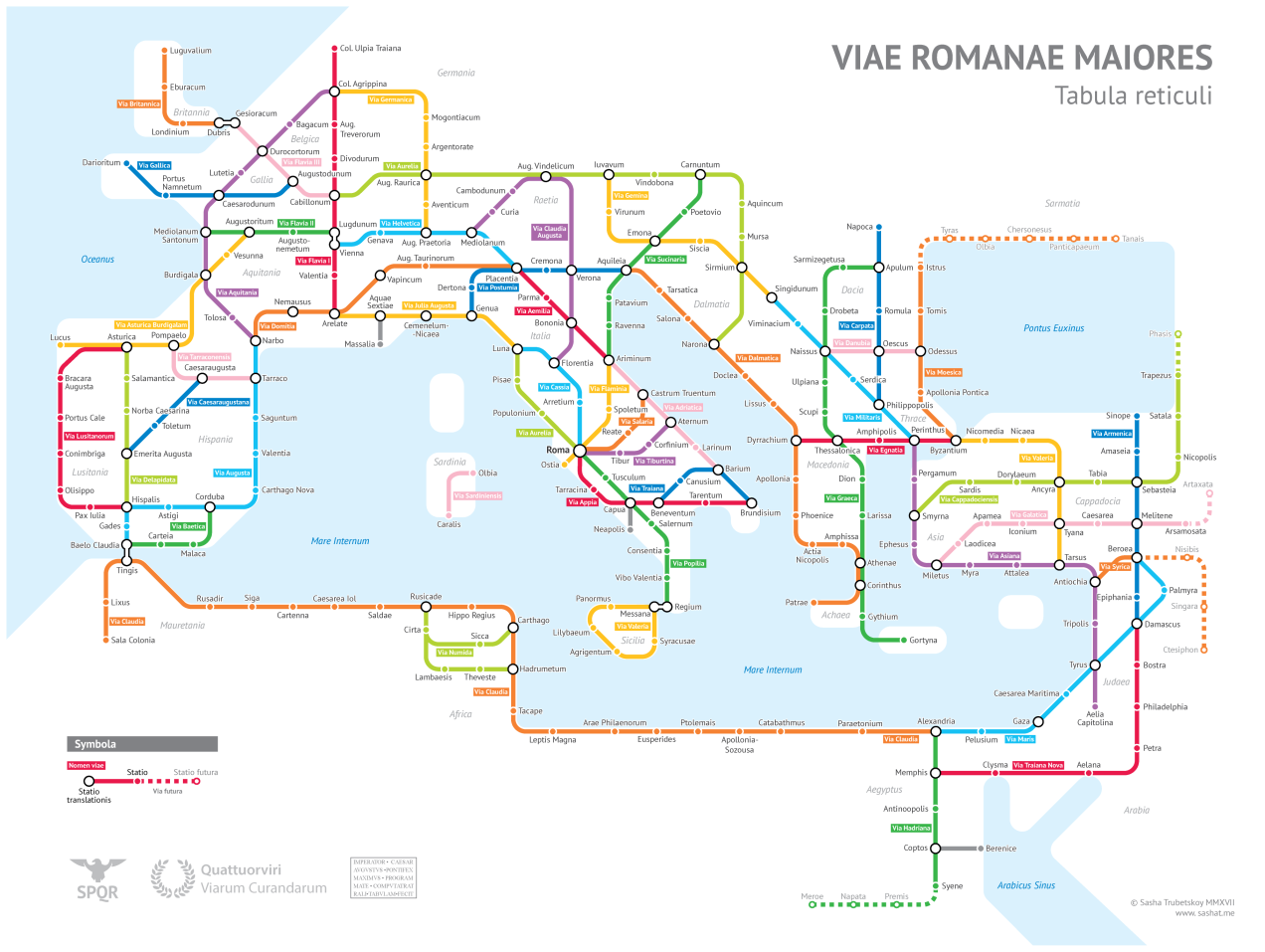 Subway map of ancient Roman roads