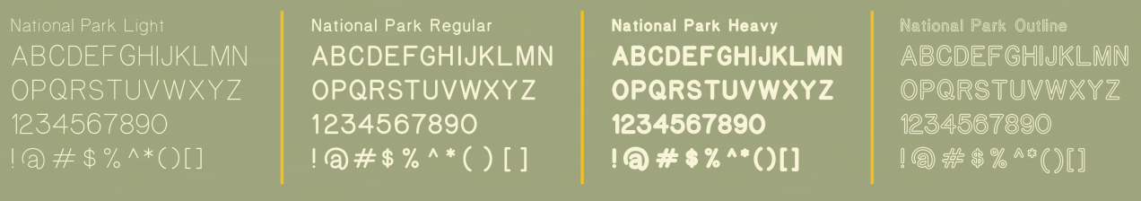 National Park typeface alphabet