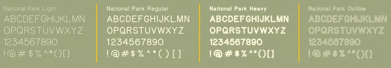 National Park typeface alphabet